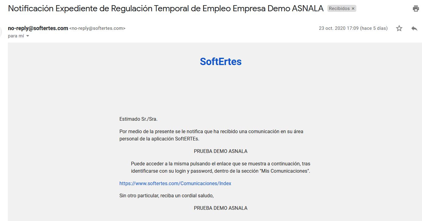 Screenshot_2020-10-28 Notificación Expediente de Regulación Temporal de Empleo Empresa Demo ASNALA - sofertes1 gmail com - [...]